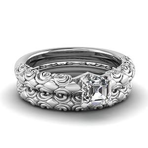 Fascinating Diamonds Solitaire Antiquated Engagement Wedding Rings Set 1 Ct Asscher Cut Diamond VVS1 GIA