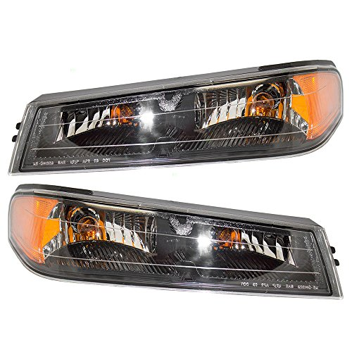 Driver and Passenger Park Signal Front Marker Lights Lamps Lenses Replacement for GMC Chevrolet Isuzu Pickup Truck 20936077 20936078