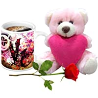 Valentine Gifts HomeSoGood Abstract Design Love White Ceramic Coffee Mug With Teddy & Red Rose - 325 Ml