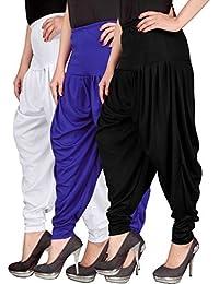 Navyataa Women's Lycra Dhoti Pants For Women Patiyala Dhoti Lycra Salwar Pant Free Size (Pack Of 3) White , Blue...