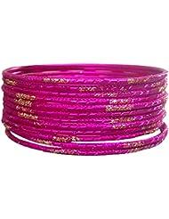 Pridetrend Pink Alloy Bangle Set For Women (Set Of 12)