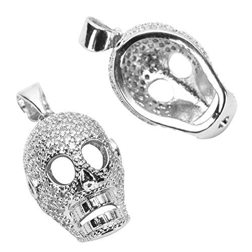 1pc Top Quality Silver Dia De Muertos Day Of The Dead Charm/Pendant With Cubic Zirconia Pave # MCAC39