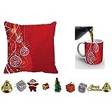 MeSleep Merry Christmas Cushion Cover In Digital Print, Mug And Christmas Decoration Combo