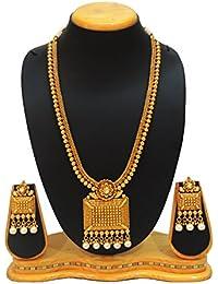 SatyamJewelleryNx Traditional Long Necklace Set For Women South Indian Jewellery (Wedding Season)