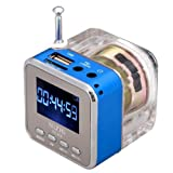 Mini Digital Portable Music MP3/4 Player TF Card USB Disk Speaker FM Radio Blue