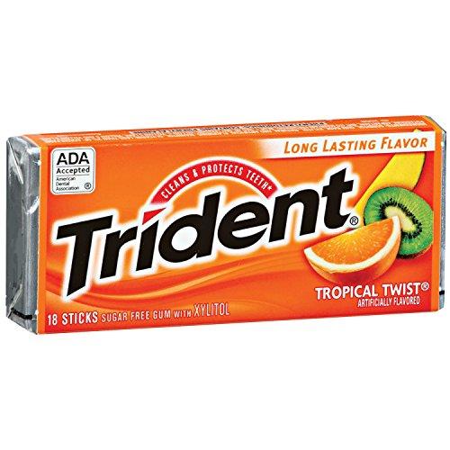 Trident Sugar Free Gum (Tropical Twist, 18-Piece, 12-Pack)