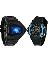 Pappi Boss Pack Of 2 - Digital Aircraft Model Wrist Watch With Light & Black-Blue 7 Light Display Digtal Sports...