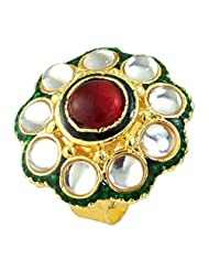 Ruby Stone Simulated Enamel Gold Plated Rings Jewelry