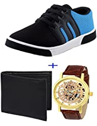 Earton COMBO Pack Of 3 Pair Multicolor (Shoes+Wallet+Watch)