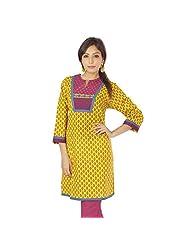 Jaipur RagaJaipuri Designer Hand Block Printed Yellow Cotton Girls Kurti N Top