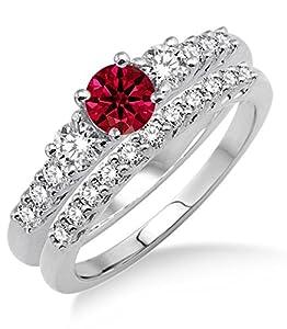 1.5 Carat Ruby & Diamond Trilogy Bridal set on 10k White Gold