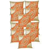 Eye Design Cushion Covers Combo Beige & Orange 40 X 40 Cms(10 Pcs Set)