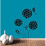 Hoopoe Decor Beautiful Round Flowers With Butterfly Wall Stickers And Decals - B011CWAAP4