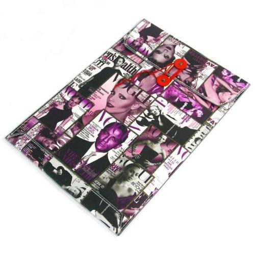 【全4柄】Macbook air 11.6用封筒レザーポーチ ケース インナーケース ヨーロッパ風 雑誌表紙仕様 パープル PU Leather case for Macbook air 11.6 (1599-3)