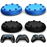 Ortz Analog Thumb Grip Stick Covers For Ps4 / Xbox 360 / Xbox One / Ps3 / Ps2 Made Of Silicone Rubber Best Caps For Gaming Remote Skins For Controller Blue & Black Set (2 Pairs Total)