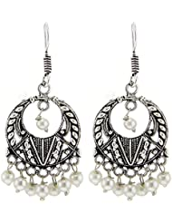 Kaizer High Quality German Silver Dangler Earring For Women/Girls In White Color (Gift)-DS-182