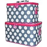 Ever Moda Pink Grey Polka Dot Cosmetic Makeup Train Case (2-piece Set)