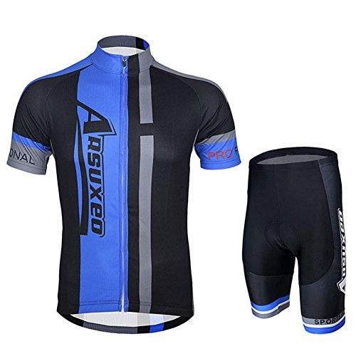 iPretty Set Traje Pantalón de Ciclismo MTB Maillot de Bici Jersey para Ciclista Mangas Cortes Transpirable Azul Talla L
