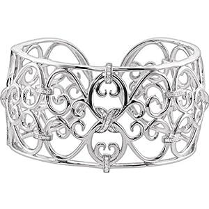 Genuine IceCarats Designer Jewelry Gift Sterling Silver 7 Inch Diamond Cuff Bracelet. 7 Inch 7 Inch Diamond Cuff Bracelet In Sterling Silver