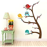 DeStudio Birds Sitting On Branches, Multi Color, Wall Stickers (Wall Covering Area : 110cm X 75cm)-11298
