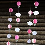 My Party Suppliers 3D Circles, Hearts And Clouds Paper Garland Party Boys Baby Shower Decoration / Party Decoration...