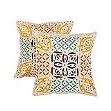 Decorative Set Of 2 Cushion Cover Floral Beige 17 X 17 Cotton Pillow Cases