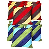 Diagonal Patch Quilting Cushion Covers Combo Red & Green 40 X 40 Cms(10 Pcs Set)