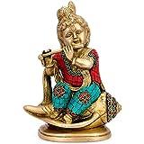 Collectible India Baby Makhan Krishna Sitting On Conch Idol Baby Kanha Krishna Brass Idol -Krishna Home Decorative...