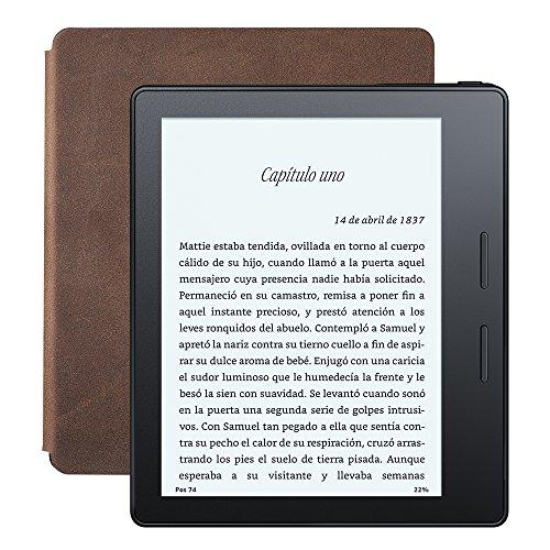 """Nuevo E-reader Kindle Oasis con funda de carga de cuero nogal, pantalla de 6"""" (15,2 cm) de alta resolución (300 ppp) con luz integrada, wifi"""