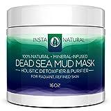 InstaNatural Dead Sea Mud Facial Mask - Skin Cleanser, Pore Reducer & Natural Moisturizer - Large 16 Oz Jar -...