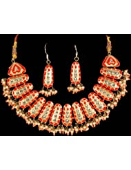 Exotic India Vermilion And Gold Designer Necklace With Earrings Set - Lacquer With Cut Glass