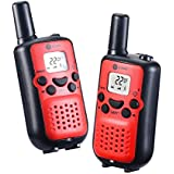 JT Walkie Talkies For Kids J-TOO Easy To Use 22 Channel FRS/GMRS Two Way Radio 5 Mile Rang 2 Pack (Red)