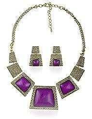 BIG Tree Purple Antique Gold Necklace Set For Women.