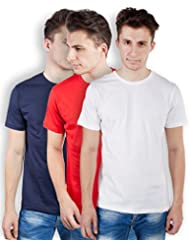 TOMO Men's Cotton Solid Color Round Neck T-shirt Combo Pack Of 3 - B00ZRLSDF6