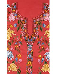 Exotic India Rose-Red Kashmiri Salwar Kameez Fabric With Floral Ari Embro - Pink