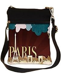 Snoogg Paper Paris Cross Body Tote Bag / Shoulder Sling Carry Bag