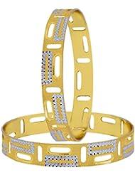 The Jewelbox Wedding Designer 22k Gold Plated Rhodium Metal Chuda Kada Bangle Set Of 2 For Women - B01IQY08LC