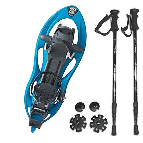 Kombi-Paket: Schneeschuh Track Easy 305 von TSL - Farbe: danube + Leichter, 3-teiliger Teleskopstock Hiker 5000