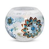 Perfectly Paisley Cherish Dream Live Crackled Glass Candle Holder 5-Inch Round Inspirational Saying