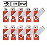 10pcs 8gb Usb Flash Drive Usb 2.0 Flash Drive Memory Stick Fold Storage Thumb Stick Pen Swivel Design Red