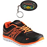 Elligator Rapid Black & Orange Sports Shoes With Stylish Rubber Key Chain For Men Combo (Set Of 2)