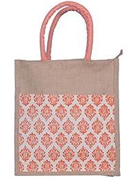 ABV Lunch Bag, Jute Bag, Printed Designer Bag, Gift Bag, Muti Purpose Bag (Peach Color)