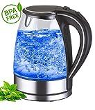 Glas Edelstahl Wasserkocher exclusive blaue LED Innenbeleuchtung 1,7 Liter 360° kabellos