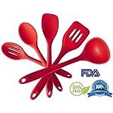 Silicone Kitchen Utensil Set (5 Piece) - Hygienic Solid Silicone Design - Cherry Red - 100% FDA Compliant - Premium...