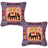 Hand Embroidered Elephant Art Indian Cotton Cushion Cover Pillow Cover 17 Inches 2 Pcs