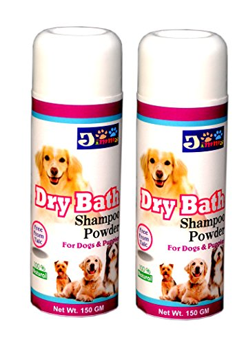 JiMMy Dry Bath - Dog Shampoo Powder - For Dogs And Puppies - No Water Needed - Pack Of 2 - Total 300 GM