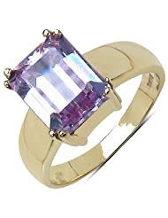Suraabi 4.67CTW Purple Cubic Zirconia 14K Yellow Gold Plated Brass Ring For Women Size 8
