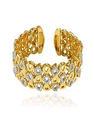 Mahi CZ Collection White Gold Plated CZ Stones Kada For Women-BA1100787G