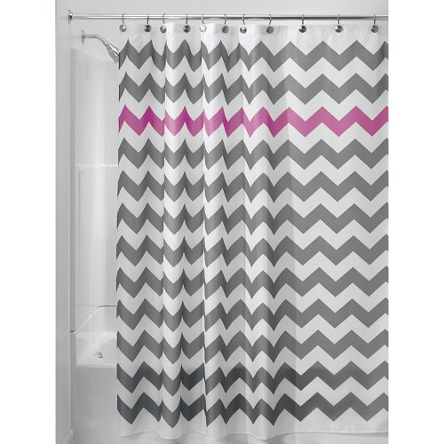 Grey with Purple Stripe Shower Curtain