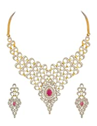 MGold Necklace Set With Peacock Inspired Motifs Adorned With CZ And Pink Colored Stone